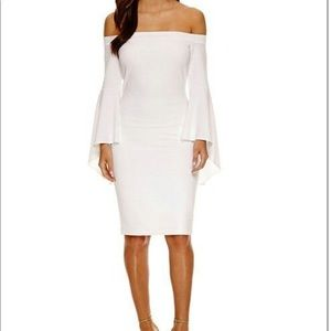 Off the shoulder bell sleeve white midi dress